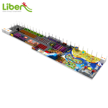 Multicolor big trampoline park with indoor soft playground